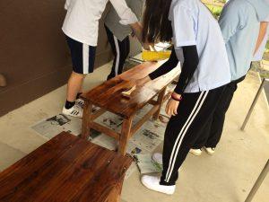 生徒たちがベンチに色を塗って、仕上げました